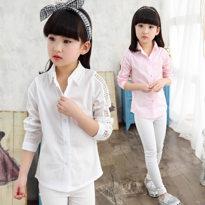 Cotton Fashion childrens baby girl clothing blouses kids girls lace long sleeves blouse casual shirt Solid color clothes 4-15T europe hot sale baby girls long sleeve velvet plaid top pant suit fashion childrens casual clothes princess clothing 16d1224