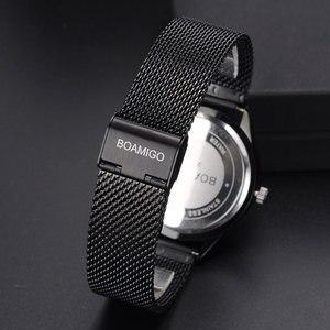 Image 5 - Bomigo montre à quartz pour hommes, de marque, à la mode, avec squelette, noire, maille, bracelet en acier, date automatique