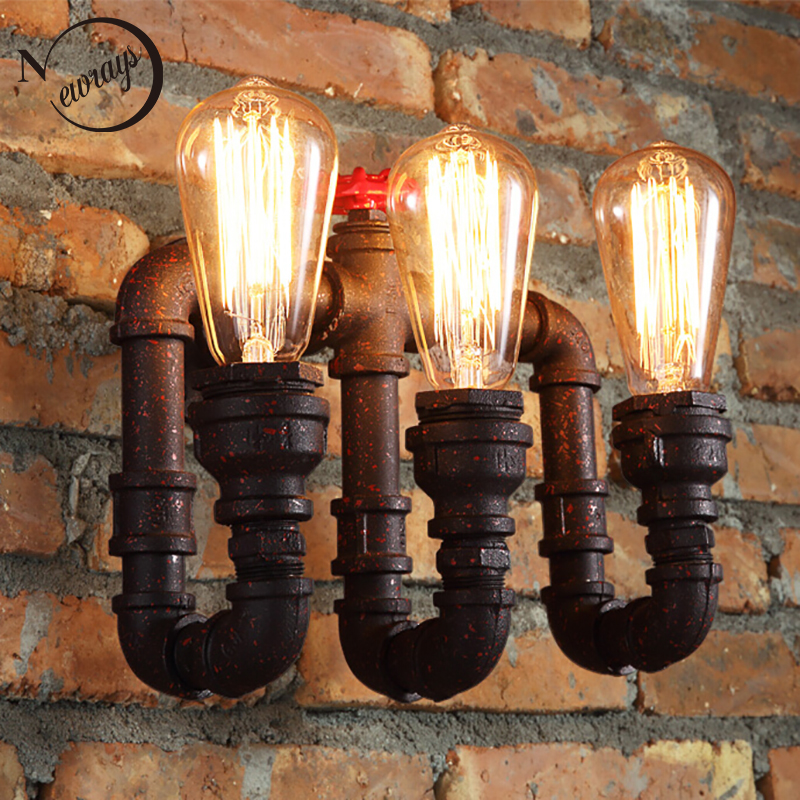 Loft Industrial 2/3 lights black Water pipe retro wall lamp Vintage E27/E26 LED sconce for living room bedroom restaurant bar