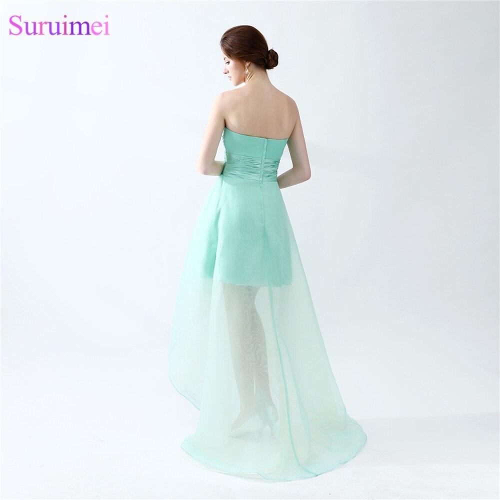 Mint Green Prom Dresses Beaded Sweetheart Organza Asymmetrical Short ...