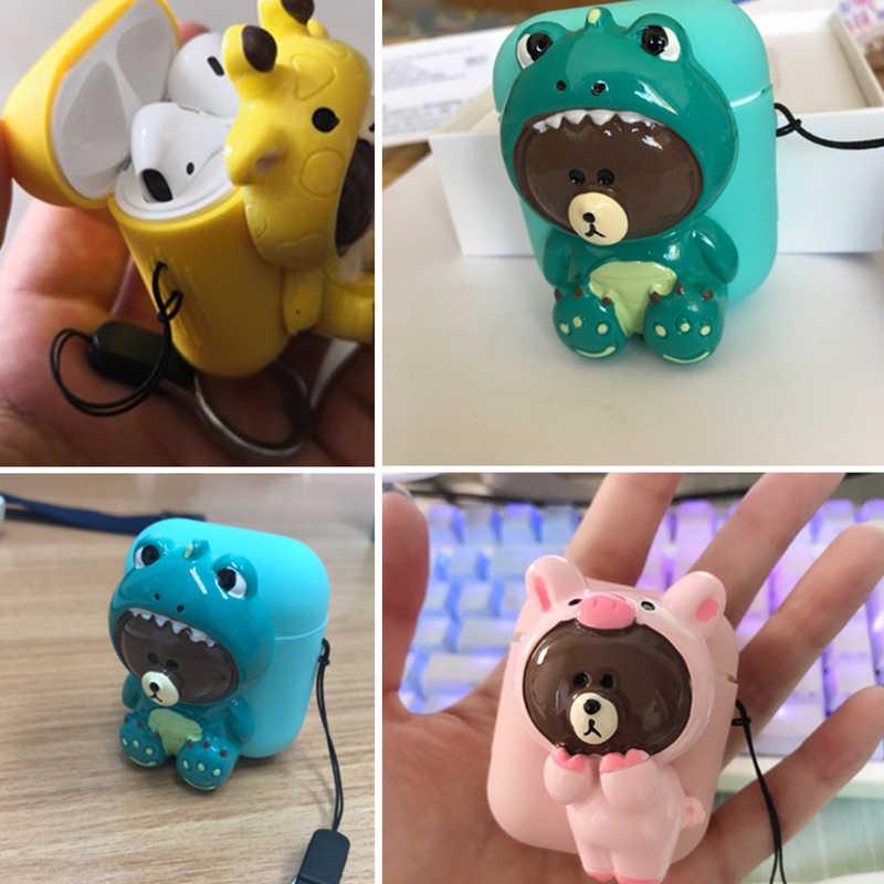 Cute DIY Silicone Case For Apple Airpods Accessories Protective Case  Bluetooth Earphone Case Unique 3D Decor Cartoon Bear Case
