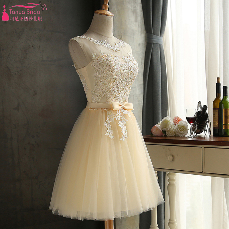 Champagne Lace Bridesmaid Dresses Short African Hot Cheap Formal Dress Sheer Neck 4 Layers tulle Maid Of Honor Gowns  ZB012