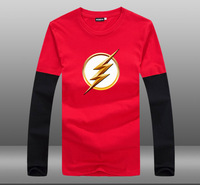 Mens Casual 2015 TV Series The Flash Season II Logo Cotton Printing Pattern O Neck Contrast Color Long Sleeve T shirts Tops
