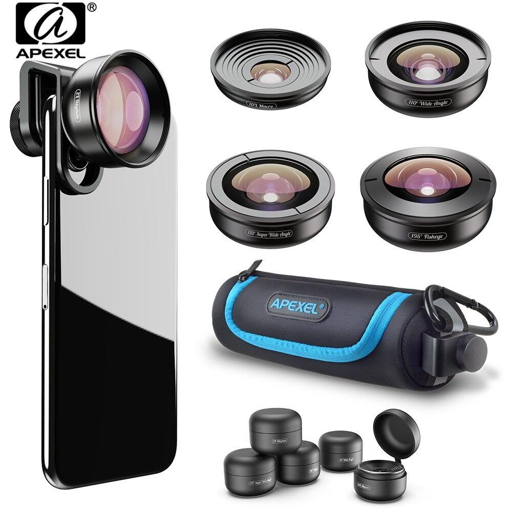 APEXEL 5 em 1 HD Lente Da Câmera Do Telefone 10X 4K Telescópio Grande Angular de Super Olho de peixe Lente Macro Móvel para iPhone X 8 7 Samsung s9 s10