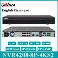Dahua оригинальный NVR4208-8P-4KS2 сетевой видеорегистратор с жестким диском 8CH 1U 8 POE 4K H.265 с 2SATA Замена NVR4108-8P-4KS2