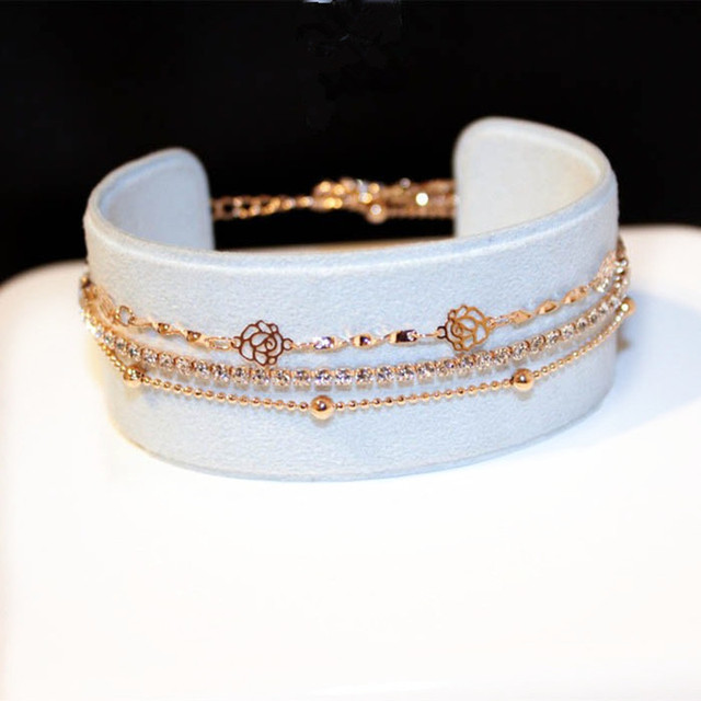 Charmwin موضة 3 طبقات كامل حجر الراين زهرة أساور النساء ارتفع الذهب اللون مجوهرات كاميليا أساور و أساور S096