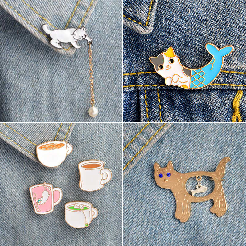 Oly2u Fashion Colorful Enamel Pin Brooches for Women Cartoon Animal Cat Metal Brooch Pins Denim Hat Badge Collar Jewelry