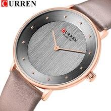 Красивые женские кварцевые часы, тонкие модные наручные часы с кожаным ремешком, женские часы CURREN, популярные женские часы, подарки для женщин