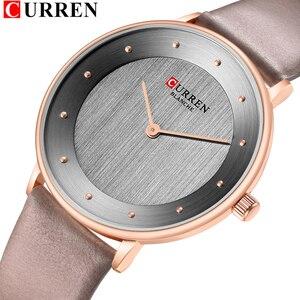 Image 1 - Beautiful Womens Quartz Watches Slim Fashion Leather Ladies Wrist Watch Reloj Mujer CURREN Hot Female Clock Gifts For Women