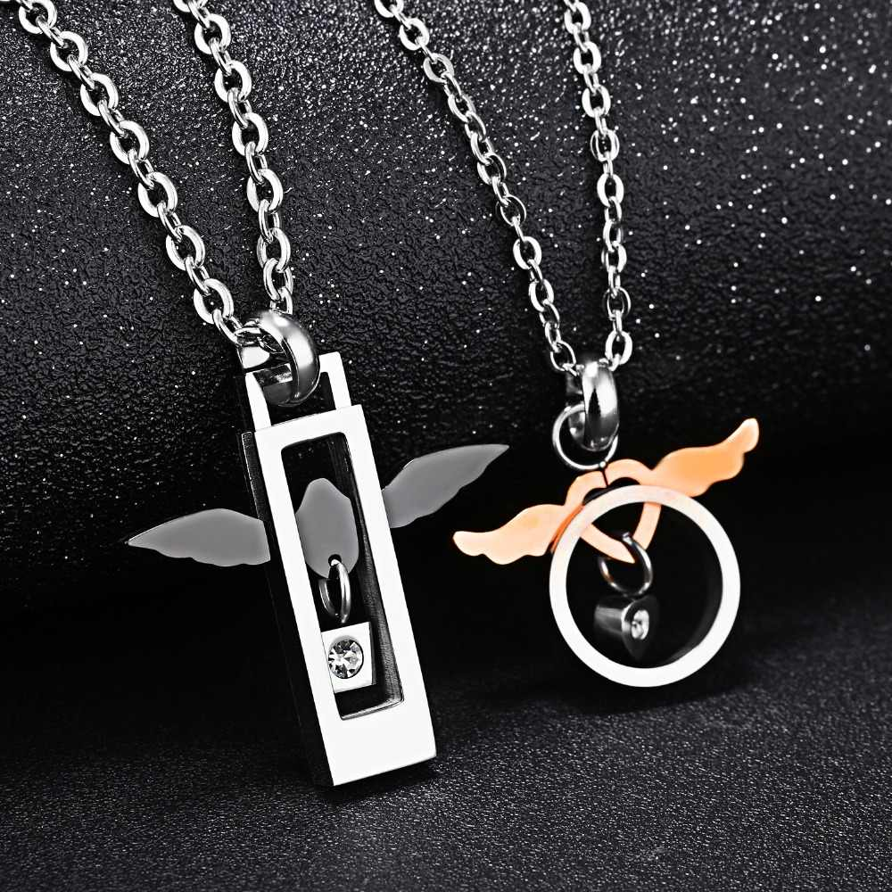 de0952a41c ... Romantic Angel Wing Pendant Necklace Lover Lucky Charm Couple Necklace  Girlfriend Boyfriend Sweet Gift Pair Jewelry ...
