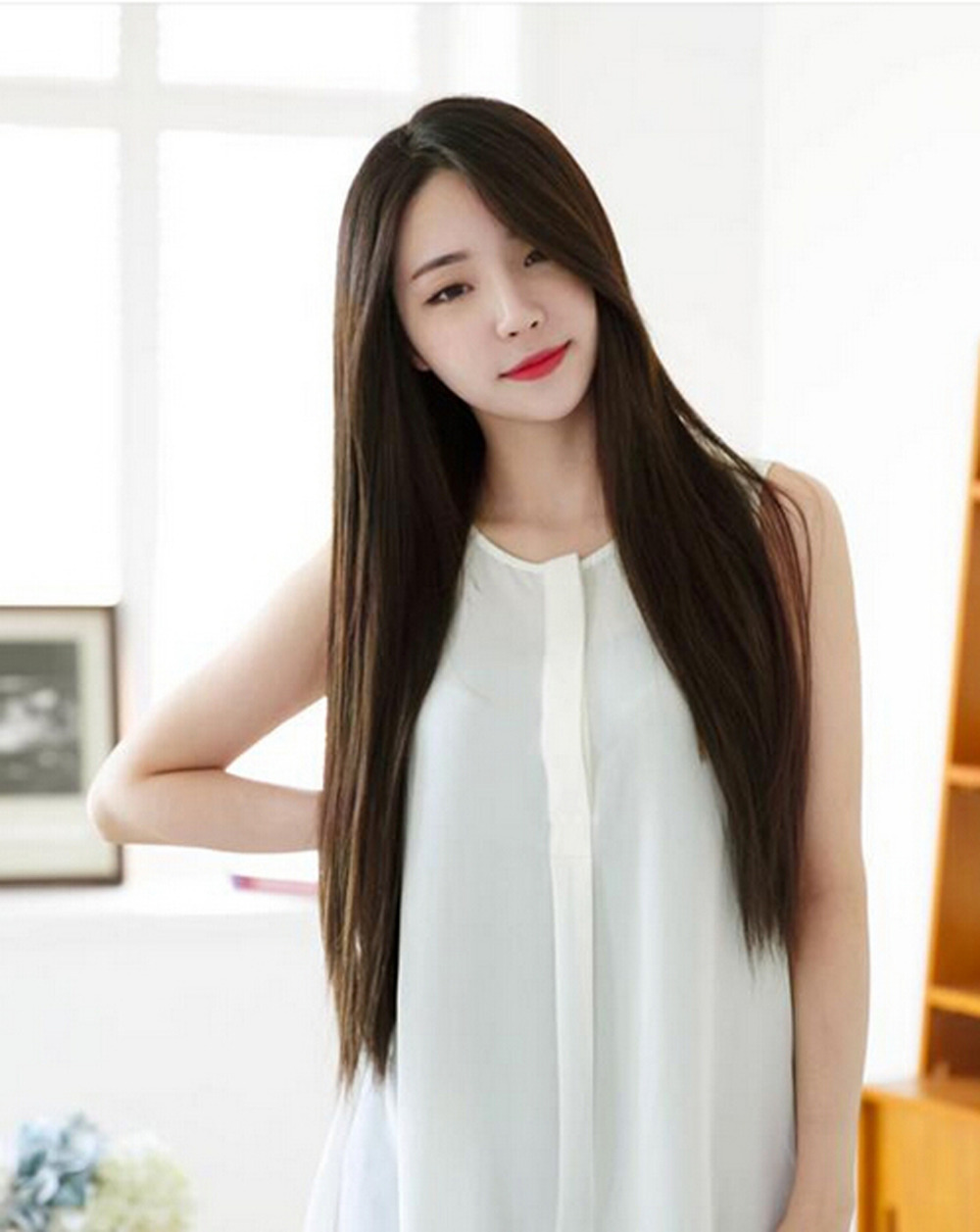 korean long hair style 1 x free shipping 2015 newest sweet korean style 4101 | 1 X Free Shipping 2015 Newest Sweet Korean Style Long Smooth Straight Wig For Women Girls