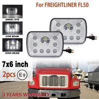 CO LIGHT 7 Inch 7X6 Rectangle Led Headlight 55W 40W 5X7 6500K High Low Angel Eye Led 12V 24V Auto For Jeep YJ Cherokee XJ Ford