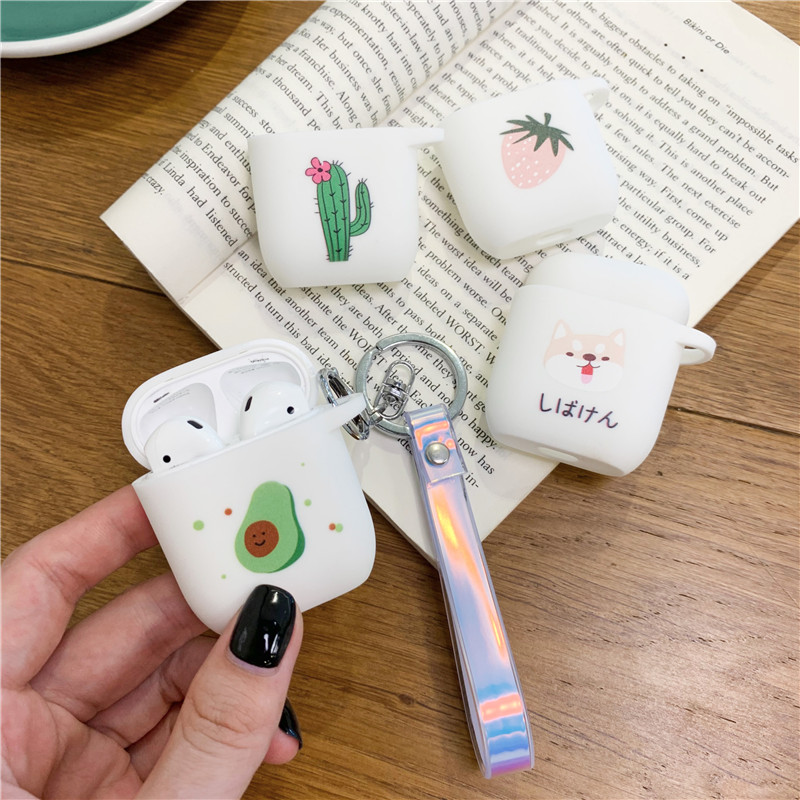 Cute Avocado Case For Airpods 2 Case Accessories Bluetooth Earphone  For AirPod Case Cover Silicone Cartoon For Air Pods Case