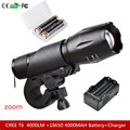 CREE XM-L T6 LED 3000LM Aluminum Torches Zoomable LED Flashlight Torch Lamp +2*18650 4000MAH Battery+Charger+ Bicycle Mount