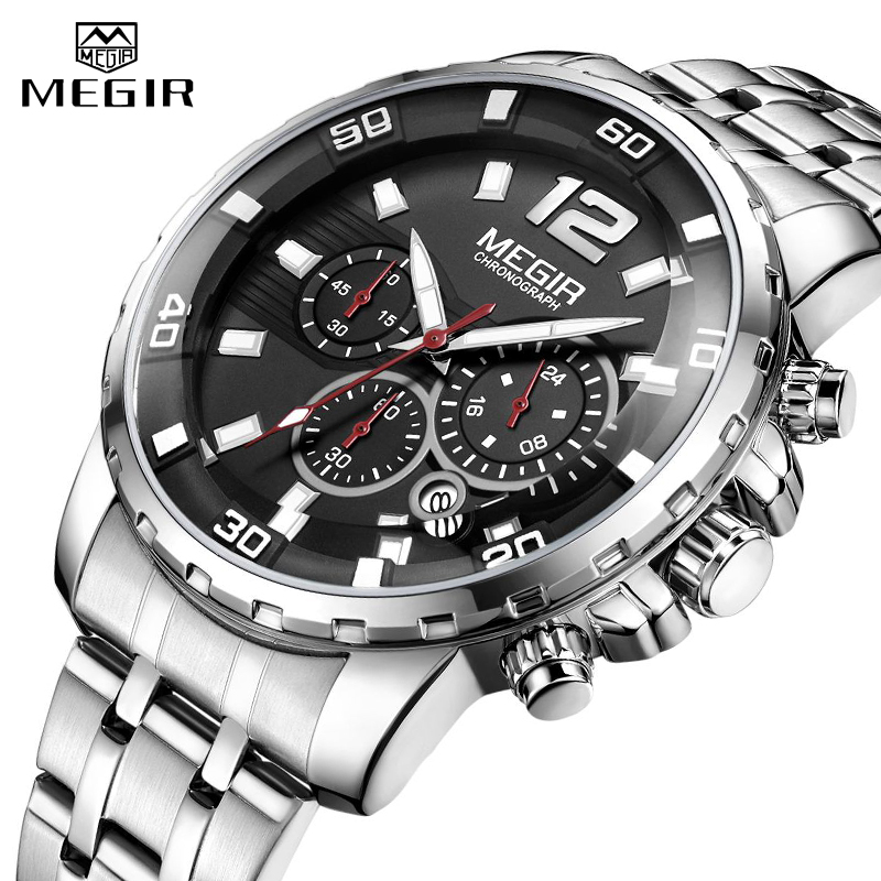 <font><b>MEGIR</b></font> Sport Watch Men Fashion Stainless Steel Quartz Wristwatch Military Chronograph Clock Business Casual Waterproof Watches image