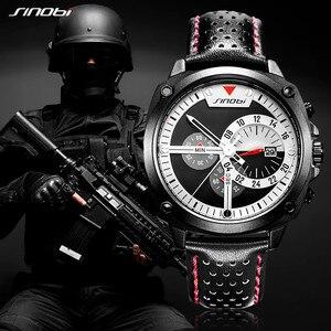 Image 5 - SINOBI Herren Uhren Top Luxus Marke Wasserdicht Sport Armbanduhr Chronograph Quarz Military Echtes Leder Relogio Masculino