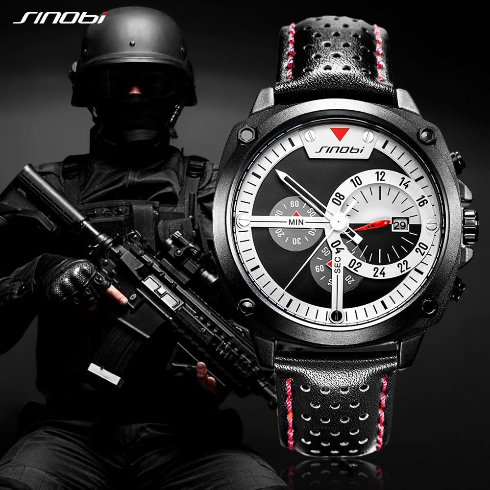 Image 5 - SINOBI Mens Watches Top Luxury Brand Waterproof Sports Wrist Watch Chronograph Quartz Military Genuine Leather Relogio Masculino-in Quartz Watches from Watches