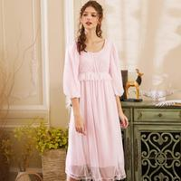 2019 Women Sexy Lace Cotton Princess Nightgown Lady Casual Sleepwear Women Night wearJapan Retro Style Dress High Quality r1465