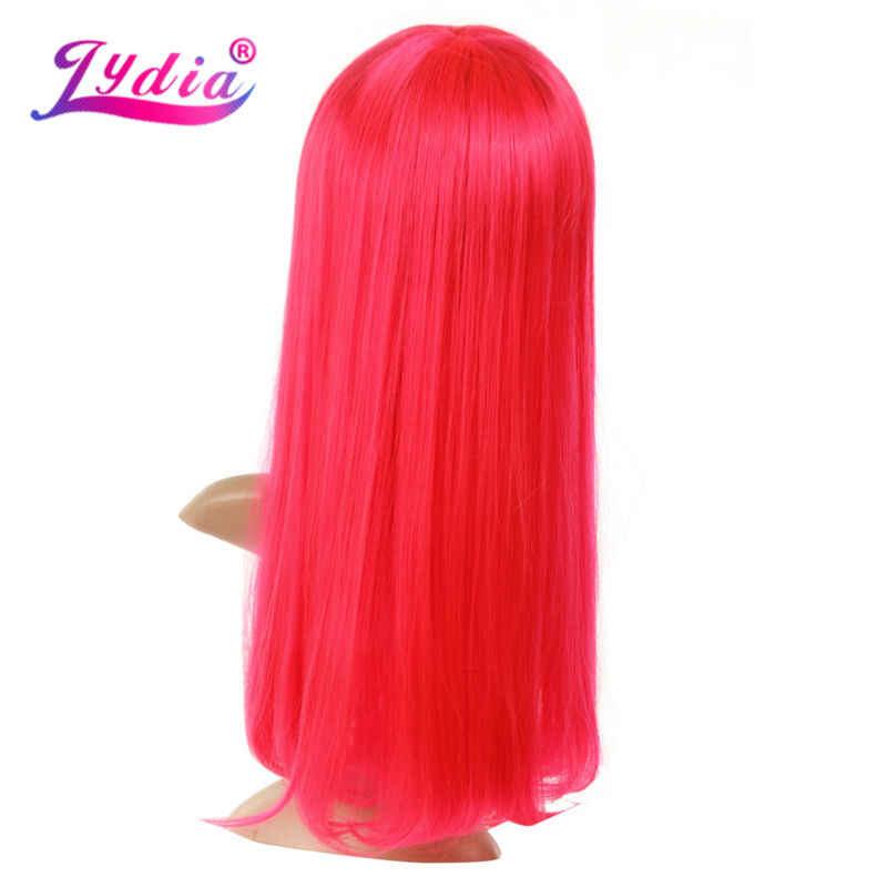 Лидия чистый цвет розовый длинные прямые 20 дюймов Синтетические парики тупой парик с прямыми волосами с моно веб канекалон для женщин природа вечерние парики