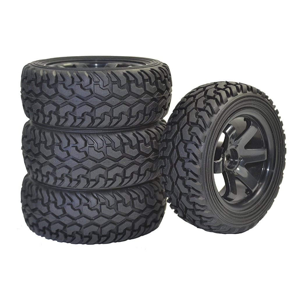 1/10 4PCS RC Rally Car Grain Rubber Tires And Wheels For 1:10 1:16 RC On Road Car Traxxas Tamiya HSP HPI Kyosho