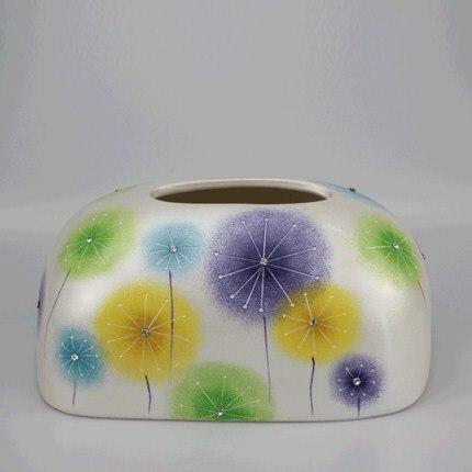 Скандинавская креативная ручная роспись коробка из керамической ткани персонализированное украшение для дома журнальный столик гостиная столовая хранение салфеток - Цвет: K