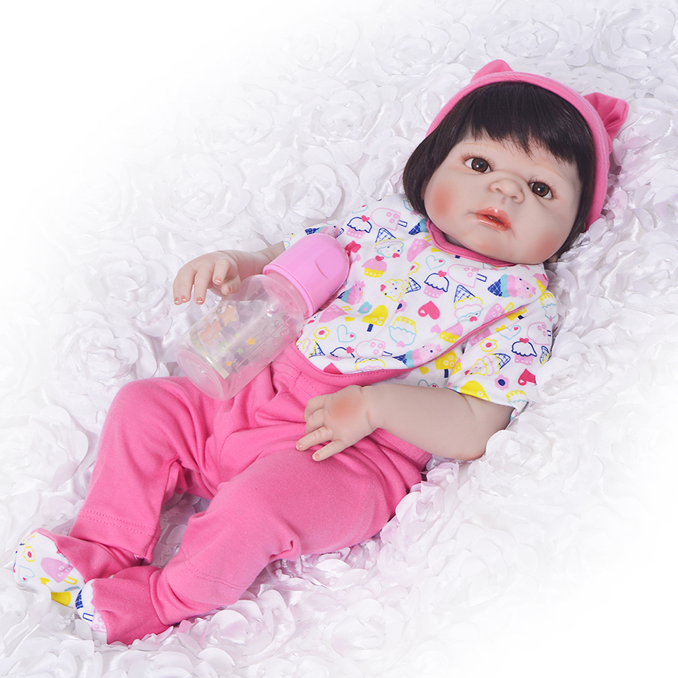 New Handmade Lifelike Reborn Dolls Toy Full Silicone Vinyl Babies Doll 23'' Brinquedos For Toddler Gifts Menina Reborn Baby 18 inch dolls handmade bjd doll reborn babies toys for girls 45cm jointed plastic toy dolls for wedding valentine s day gifts