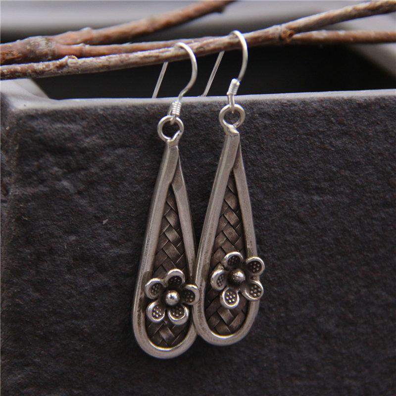 C&R Real 925 Sterling Silver Earrings for Women Water Drop Flower Thai Silver Drop Earrings Handmade Fine Jewelry