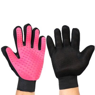 Щетка для собак, перчатка для питомцев, мягкая эффективная перчатка для ухода за домашними животными и кошками, перчатка для ванны собак, товары для чистки кошек, перчатка для домашних животных, расчески для собак - Цвет: rose1