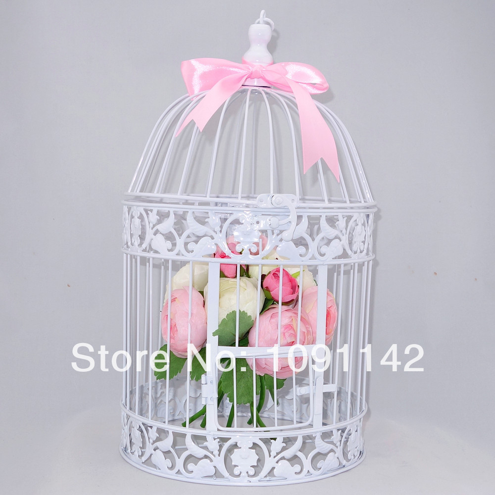 Antique white decorative small wedding bird cage in cages for Petite cage a oiseaux decorative