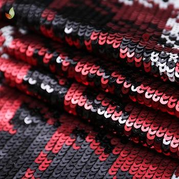 Tessuto Da Sposa In Pizzo   5 Yard Tessuto Del Ricamo 5 Yard Rosso E Nero Di Maglia Di Paillettes Da Sposa In Pizzo Velo Di Paillettes Costume Del Vestito Della Maglia Della Fase Del Partito Mostra I Vestiti