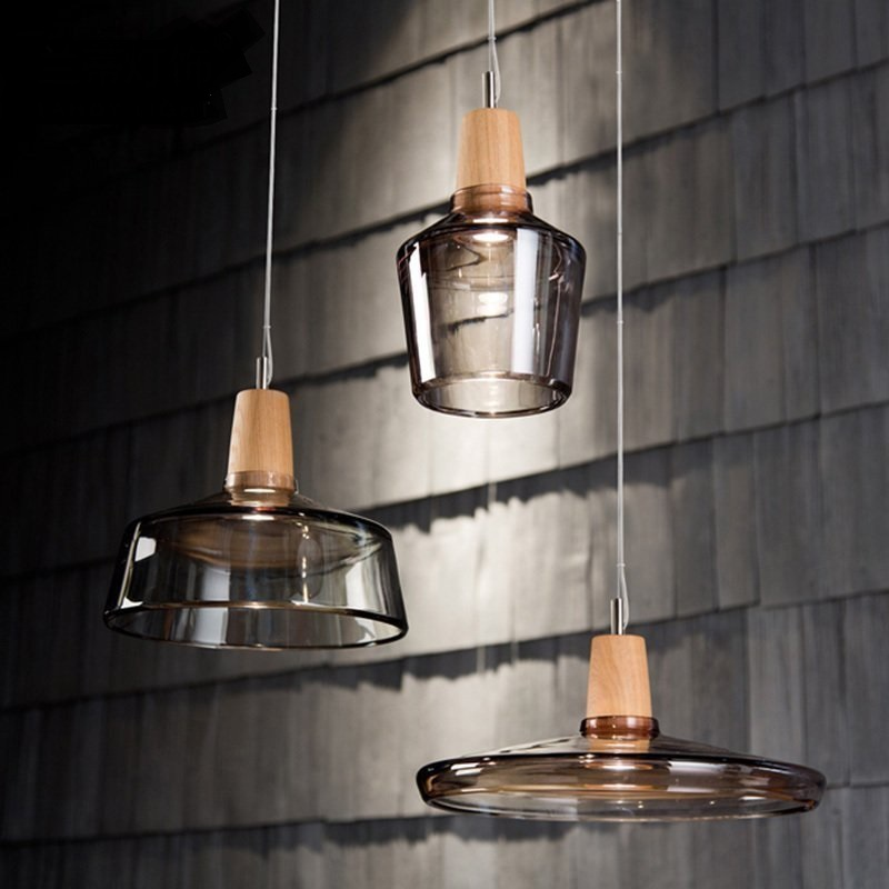 1PC Simple Glass pendant lights Creative Living Room Art Bar Cafe Decorative wood pendant lamps zzp80697 220v nordic wood art creative led wood lamps restaurant cafe living room bedroom bar solid wood match stick simple pendant light