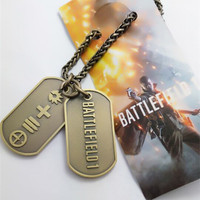 2016 Game Battlefield 1 Cosplay Metal Necklace Double Pendants Dog Tag Double-Sided Cosplay Props Accessories Gift