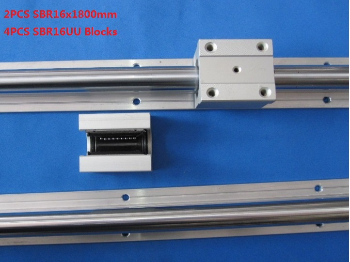 2pcs SBR16-1800mm support rail linear guide+4pcs SBR16UU linear blocks for cnc router 2pcs sbr20 1800mm support rail linear guide 4pcs sbr20uu linear blocks for cnc router