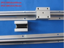 2 шт. SBR16-1800mm поддержка железнодорожных линейной направляющей + 4 шт. SBR16UU линейные блоки для чпу