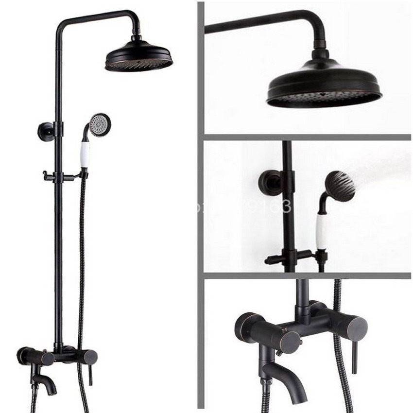 Black Oil Rubbed Brass Wall Mounted Bathroom Rain Shower Hand Shower Tub Faucet Set Mixer Valve With Hand Shower ars366