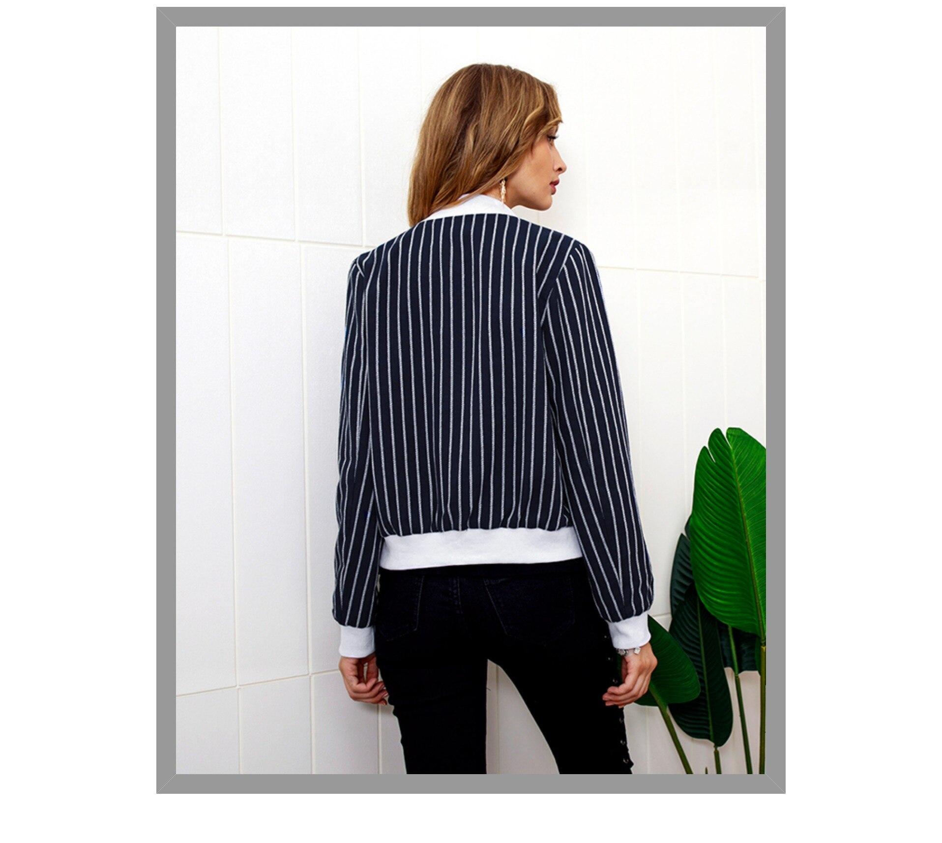 c132ee010 Dicloud Striped Bomber Jacket Women Long Sleeve Women Jacket 2018 Autumn  Basic Coats Casual Slim Outerwear Short Jackets Womans