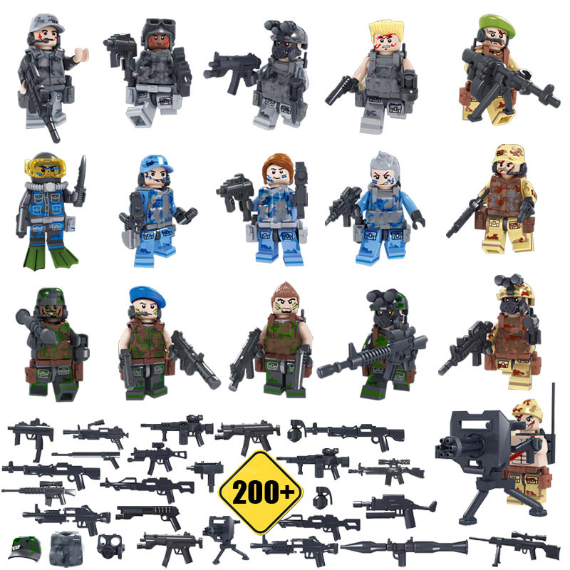 16pcs Team Leader Military Equipment Counter-terrorism Raid With Weapons Building Blocks Compatibal With LegoINGly Weapon islam between jihad and terrorism