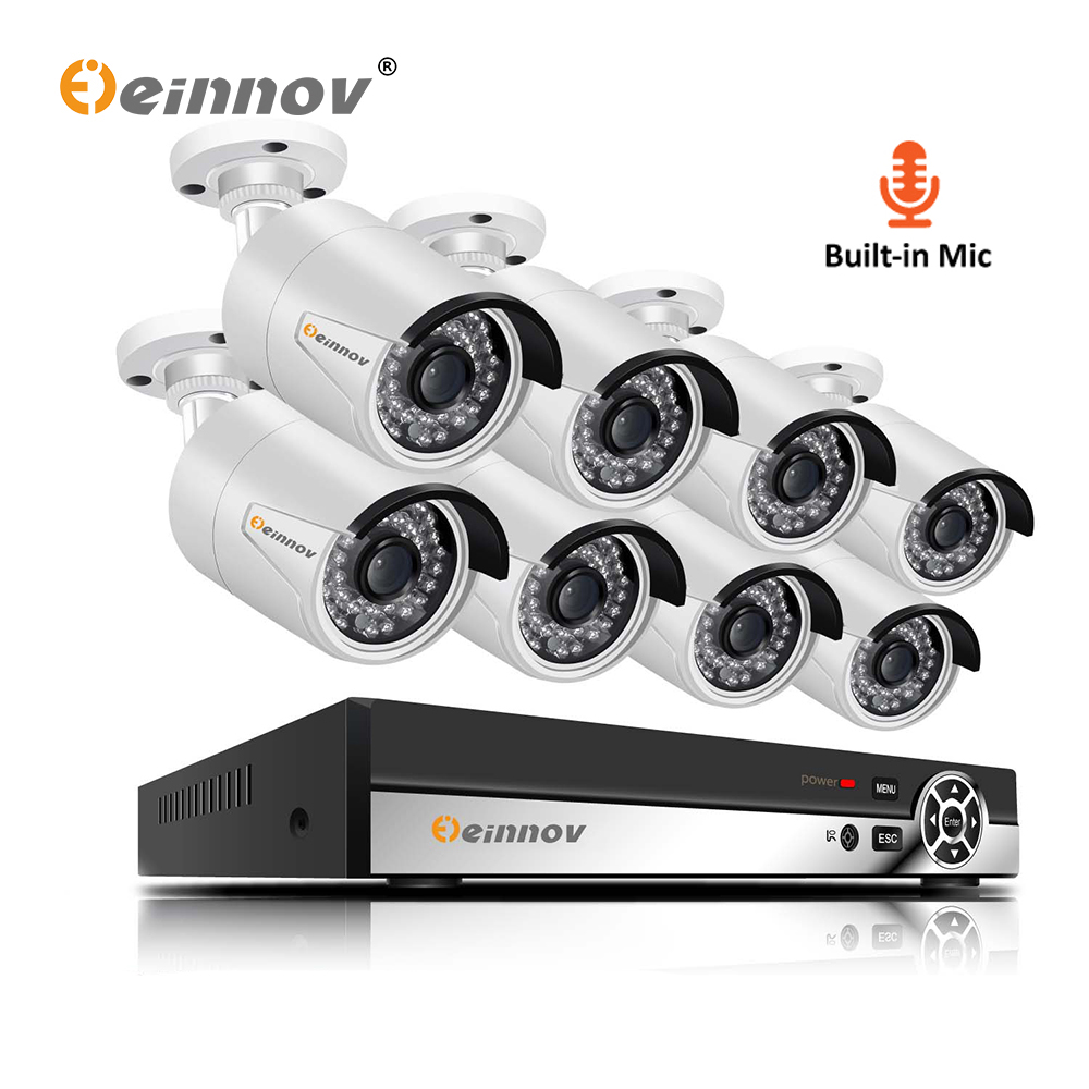 Einnov 8CH POE Outdoor Video Surveillance Camera 1440P HD Home Security Camera System CCTV 5MP NVR Audio System 3MP Night VisionEinnov 8CH POE Outdoor Video Surveillance Camera 1440P HD Home Security Camera System CCTV 5MP NVR Audio System 3MP Night Vision