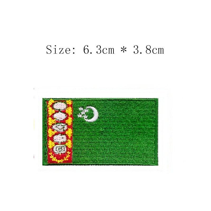 TURKMENINSTAN FLAG WORLD EMBROIDERED PATCH BADGE