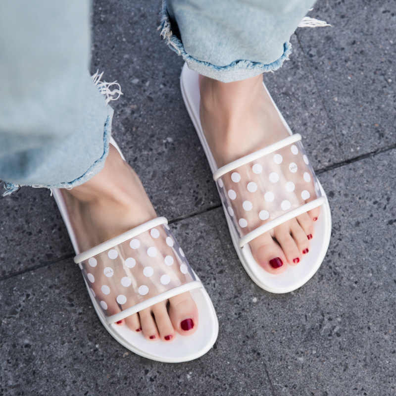 Yu Kube Summer Slippers Shoes Woman 2019 Polka Dots Transparent Peep Toe Flip Flops Clear Women Outdoor Flat Beach Slides