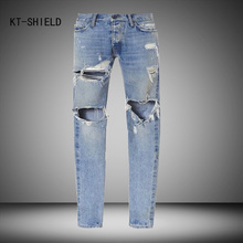 Best version men Vintage destroyed skinny blue denim jeans Mens Knee Hole slim Distressed Jeans Knife Cut Ripped Jeans For Men