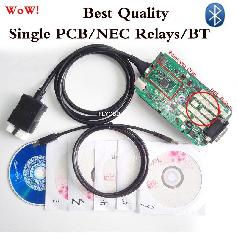 Prix pour Date v5.008R2 WoW S-nOper Unique PCB Bluetooth OBD ODB2 Outil De Diagnostic TCS cdp pro + nouveau vci Outil D'analyse Pour VOITURE/TURCK SCANNER