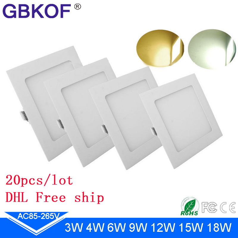 20pcs LED panel lamp 3W 4W 6W 9W 12W 15W 18W SMD2835 LED recessed ceiling white