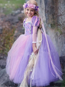 Fairy Girls Princess Rapunzel Dress Children's Party Carnival Costumes for Girls Tangled