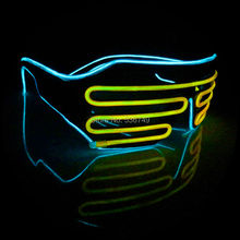 ICE Blue+yellow el glasses El Wire Fashion Neon LED Light Up Shutter Shaped Glow Rave Costume Party DJ Bright SunGlasses