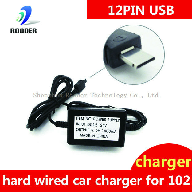 Factory selling 12V-24V Hard wired Car Battery Charger for GPS Tracker TK102 with Short Circuit Protection FREE SHIPPING