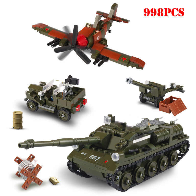 Military Tank Airplane Soldier Figures Building Blocks Compatible Legoings WW2 Soviet Weapons Technic Bricks Children Toys Gifts