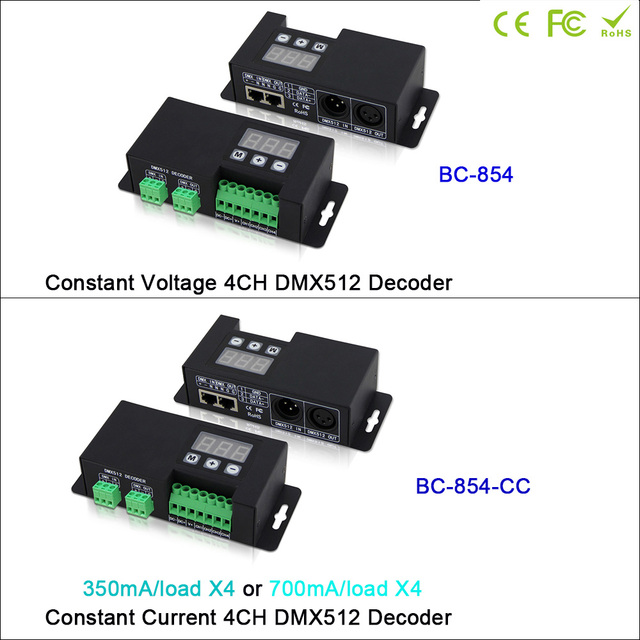 BC-854/BC-854-CC Led CC/CV 4CH DMX512 Decoder 3-digital-display shows DMX address DMX512 signal driver controller for led lamp