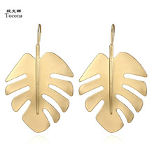 Tocona Vintage Leaf Pendant Metal Drop Earrings Punk Gold Alloy Dangle Earring Brincos for Women Jewelry Accessories 4557