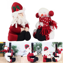 2 Set  2016 Newest Red Wine Bottle Cover Bags Hug Santa Claus Snowman  Dinner Table Decoration Home Christmas Party Decors